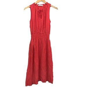 FRAICHE J Coral Red Smocked Sleeveless Knee Dress